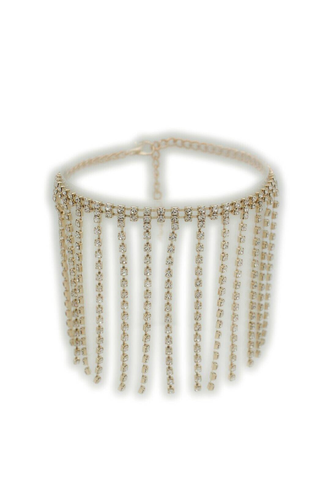 Women Gold Chain Boot Strap Long Silver Shiny Fringes Tassel Shoe Charm Fancy