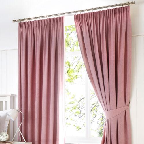 Tiebacks /& Cushions Fusion DIJON Blush Pink Blackout Pencil Pleat Curtains