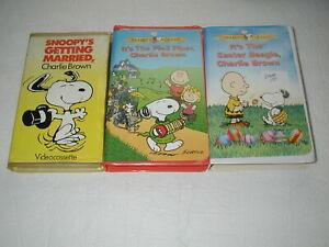CHARLIE-BROWN-PEANUTS-CLASSICS-3-TAPE-LOT-KIDS-CARTOONS-VHS-RARE-HTF-OOP