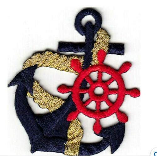 ANCHOR Navy Blue w//Gold Rope /& Red Wheel Iron On Patch Nautical Boat