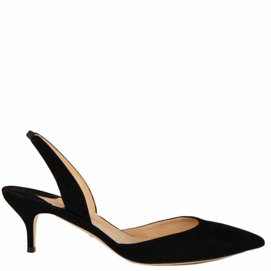 58266 auth PAUL ANDREW black suede RHEA Slingbacks Pumps shoes 40.5