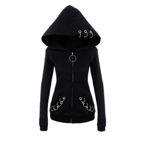 Womens Black Gothic Punk Hoodie Jacket Coat Top Long Sleeve Sweatshirt Outwear