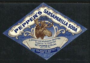 MOOSE HEAD 1930s PEPPERS SARSAPARILLA SODA BOTTLE LABEL DIAMOND SHAPE