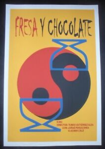 STRAWBERRY-amp-CHOCOLATE-Cuba-Silk-screen-Poster-for-Famed-CUBAN-Movie-w-Gay-Hero