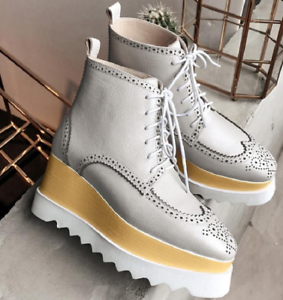 Womens Wedge Brogue Yellow Lace up Shoes Platform Fashion High Top Ridding