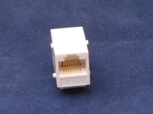 50 X pcs Lot CAT6 Inline RJ45 Keystone Wall Coupler Jack Adapter 8P8C White 6e