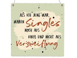 XL Holzschild Vintage Shabby ALS ICH JUNG WAR WAREN SINGLES Spruch Schallplatte