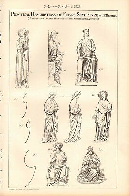 J F Redfern 3 Prints Qualified 1873 Antique Architecture Figure Sculpture Design Print