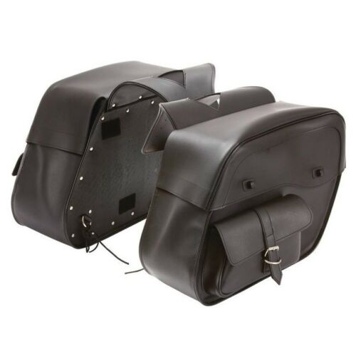 """18/"""" W x 12/"""" H WATERPROOF SLANTED SADDLEBAGS w// FRONT POCKET FOR HARLEY"""
