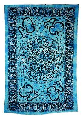 Multi Om Print Tie Dye Green Indian Made Cotton Throw 140 x 210 cm