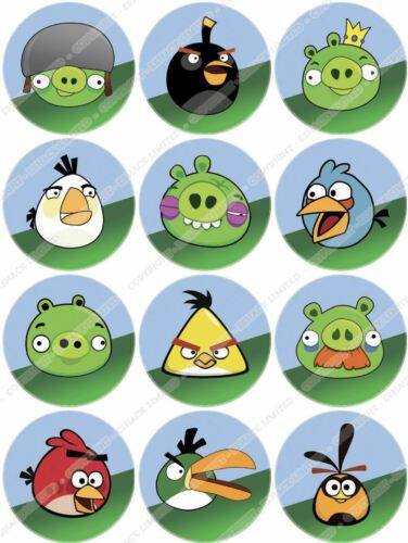 Cakeshop 12 x PRE-CUT Angry Birds Birthday Cupcake Edible Cake Toppers