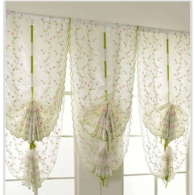 1x Window Kitchen Bathroom Lifting Roll Up Rome Curtain Screen Embroidered Us