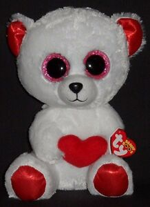 """TY BEANIE BOOS - CUDDLY BEAR the 9"""" VALENTINES BEAR - MINT with MINT TAG"""