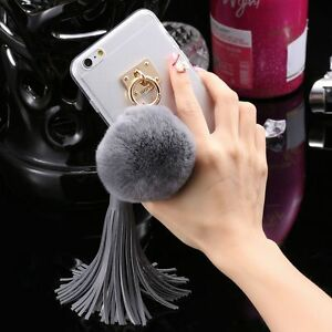Luxury-Lady-Rabbit-Fur-Hair-Ball-Tassel-Crystal-Clear-Back-Case-Cover-For-iPhone
