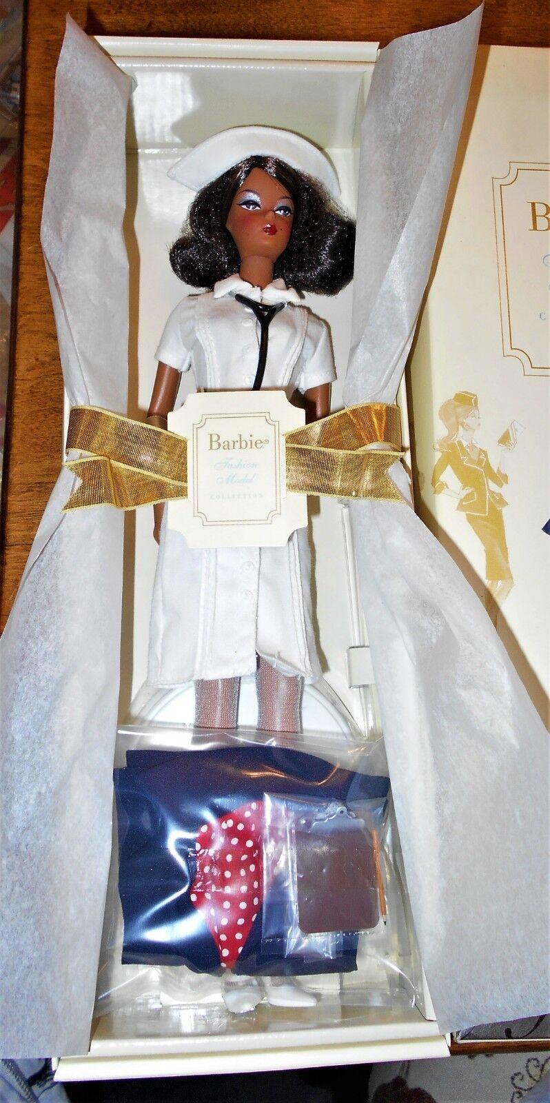 African-American Platinum Label la enfermera moda modelo Silkstone Barbie nunca quitado de la caja