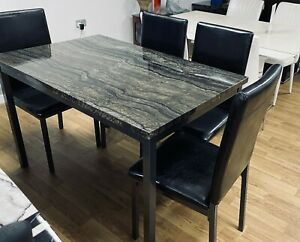 Marble Effect Gloss Finish Dining Table And Chairs Sets In Black Brown Or Grey Ebay