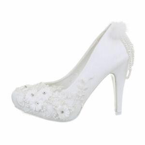 Tacones Altos Zapatos de Novia Bombas Mujer Diseñador Nuevo Talla 37 Blanco 8239