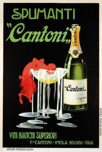 Spumanti Sparkling Campagne Wine Cantoni Red Devil Bologna Poster Repro FREE SH
