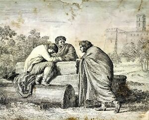 ROME-CAMPO-VACCINO-GRAVURE-SUR-PAPIER-ANONYME-ITALIE-XVIIIEME-SIECLE
