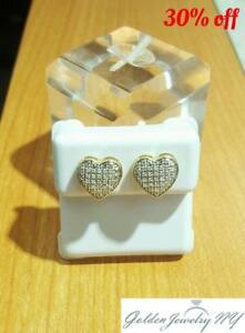 Solid-10K-Yellow-Gold-Micro-Pave-Earrings-Genuine-Diamond-Heart-TCW-0-8-1-00