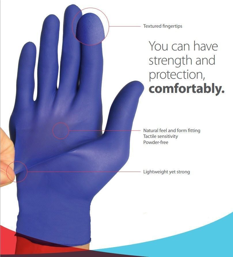 Nitrile Exam Gloves,50 Pcs Comfortable Protective Gloves Safety M Powder Free Latex Free Blue