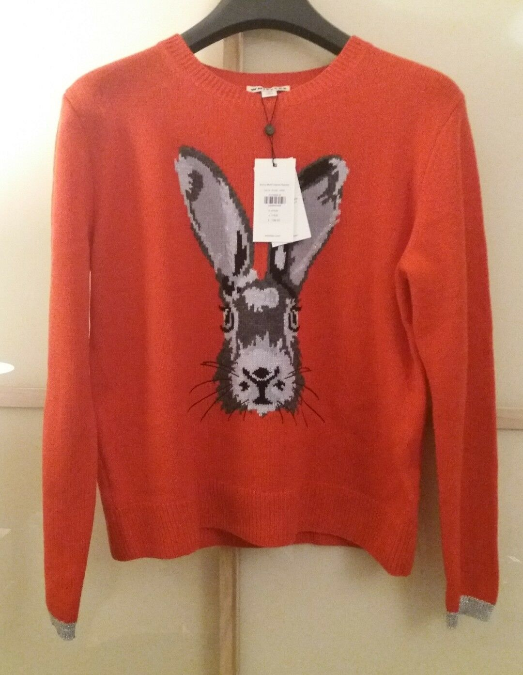 BNWT Whistles Bunny Motif Intarsia Wool Jumper Sweater UK8 10 Red rrp