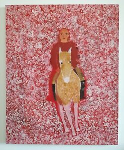 Oil-on-canvas-naive-young-girl-on-a-donkey-surrounded-by-flowers-81x65-cm