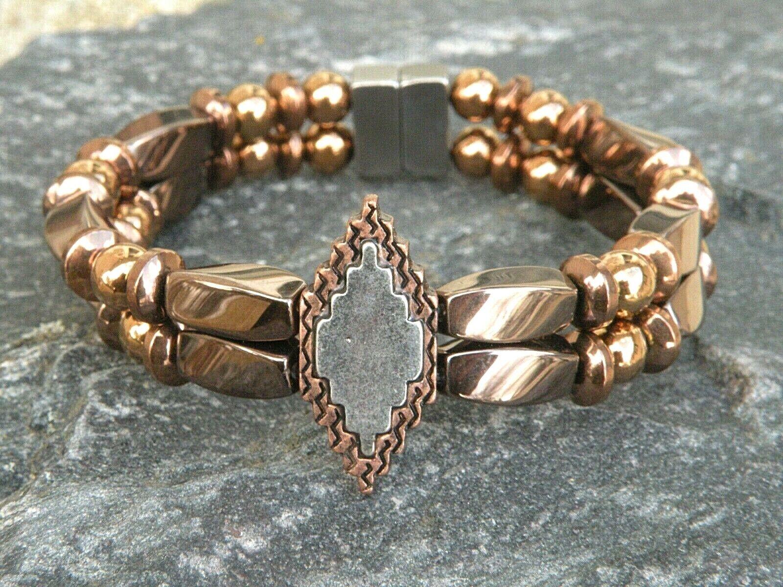 Copper Magnetic Hematite Bracelet Anklet 2 Row Diamond Shaped Pendant
