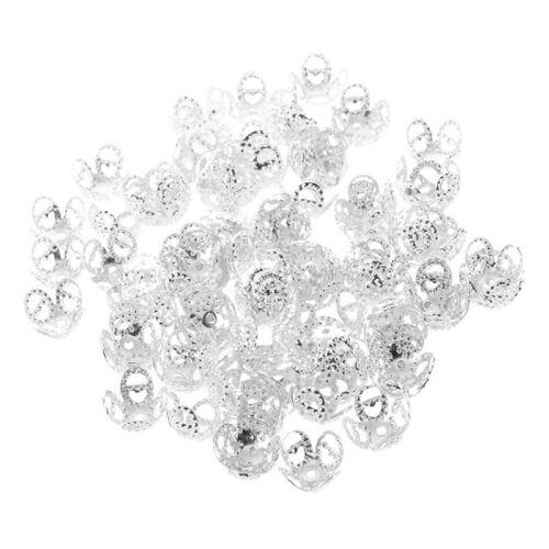 100-Teilige Silberne 4-Blatt Filigran Perlenkappen Die Riesige Perlen Fuer Z1L4