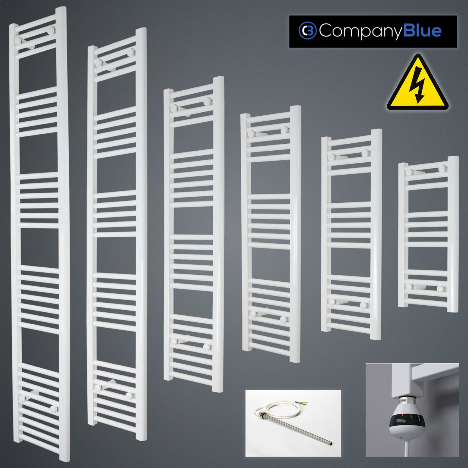 350mm Wide Electric Weiß Heated Towel Rail Radiator Straight Ladder Pre-filled
