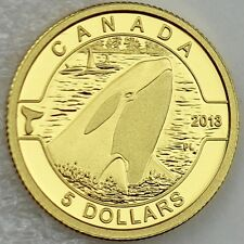 "Canada 2013 Orca 1/10 oz. Pure Gold $5 Proof Coin ""O Canada"" ONLY 4,000 MINTED"