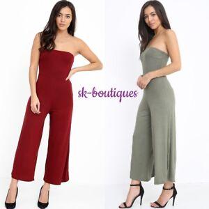712de4b0572 Image is loading Ladies-Wine-Khaki-Bandeau-Bardot-Cullote-Flared-Jumpsuit-