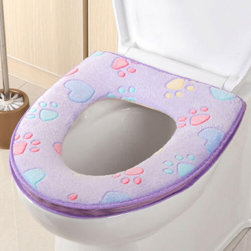 Salle de bains Warmer toilettes siège tissu doux Closestool lavables Lid Top Cover Pad TOP