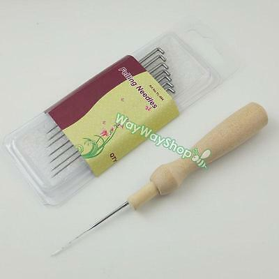Wool Felting Tools Needles Wooden Needle Handle Holder Craft Kit grip felt Pg79