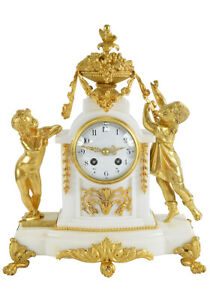 PENDULE-CUEILLETTE-Kaminuhr-Empire-clock-bronze-horloge-antique-cartel