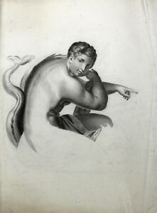 Drawing-Antique-Quality-One-Young-Naked-Woman-Study-Poseidon-Mermaid-Marine
