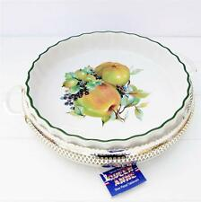 Vintage Flan Quiche Oven Dish Autumn Fruit Queen Anne Silver Plate Stand