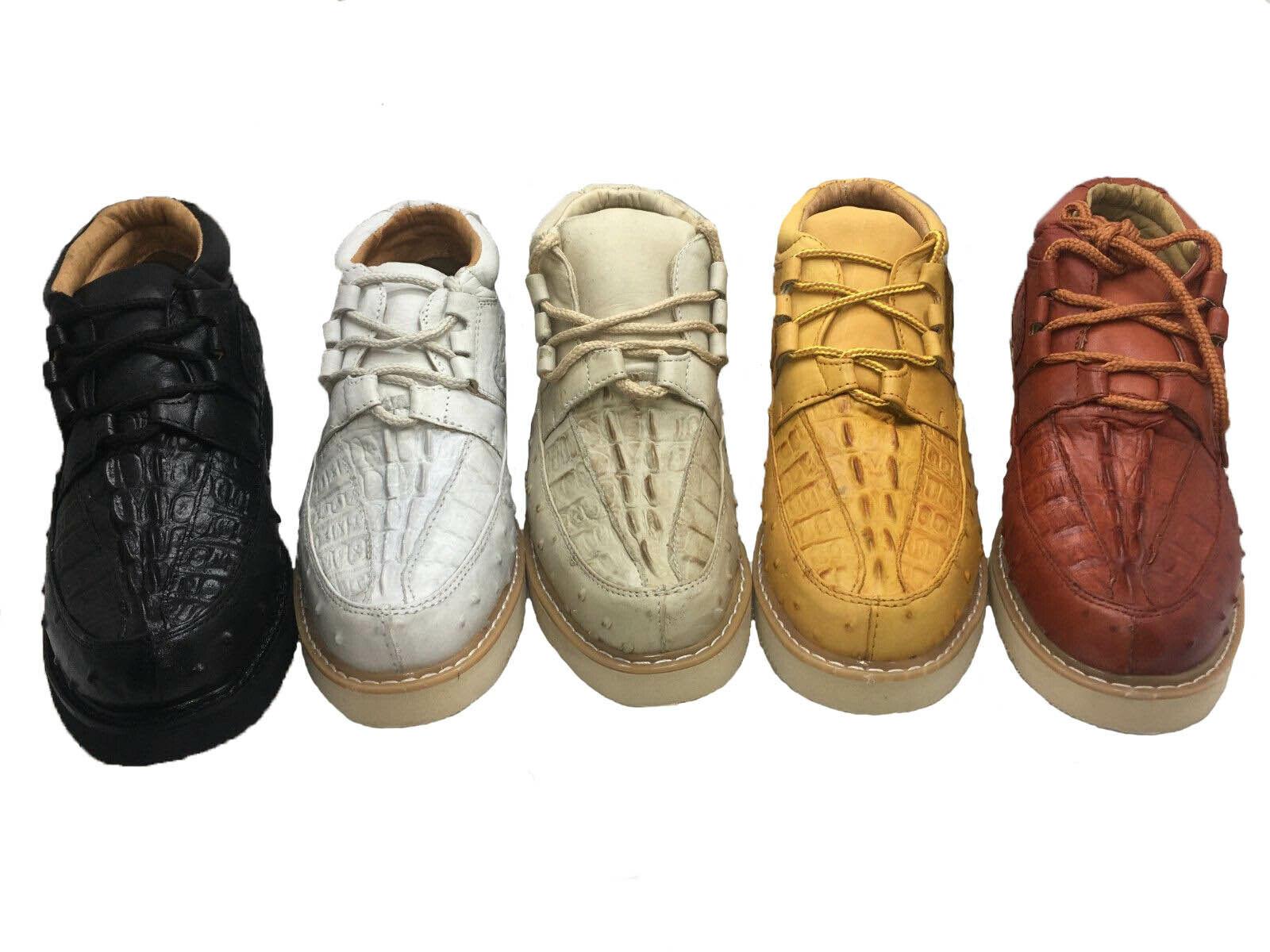 Para hombre hechos a mano Cocodrilo Genuino Cuero de vaca impresión Avestruz Cordones De Cuero Zapatos