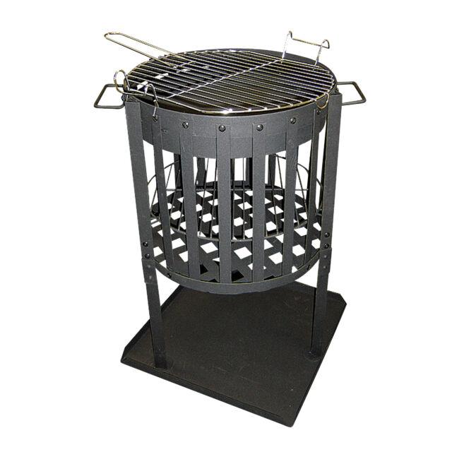 Feuerschale 60 cm Metall Terrassenfeuer Feuerkorb Feuerstelle Funkenschutz Grill