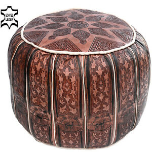 marokkanische leder sitzhocker fu kissen orient bank hocker kissen pouf lsr8 ebay. Black Bedroom Furniture Sets. Home Design Ideas