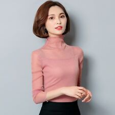 ef34bfebeb45 item 2 Lady Mesh Sheer Shiny T-Shirt Long Sleeve Turtle Neck Ruffle Collar  Tee Top Slim -Lady Mesh Sheer Shiny T-Shirt Long Sleeve Turtle Neck Ruffle  Collar ...