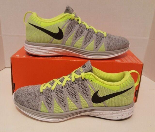 d9b54f39c693 Nike Flyknit Lunar2 Men s SZ 8.5 NEW 620465 007 GRY VOLT  150 AIR RACER NO