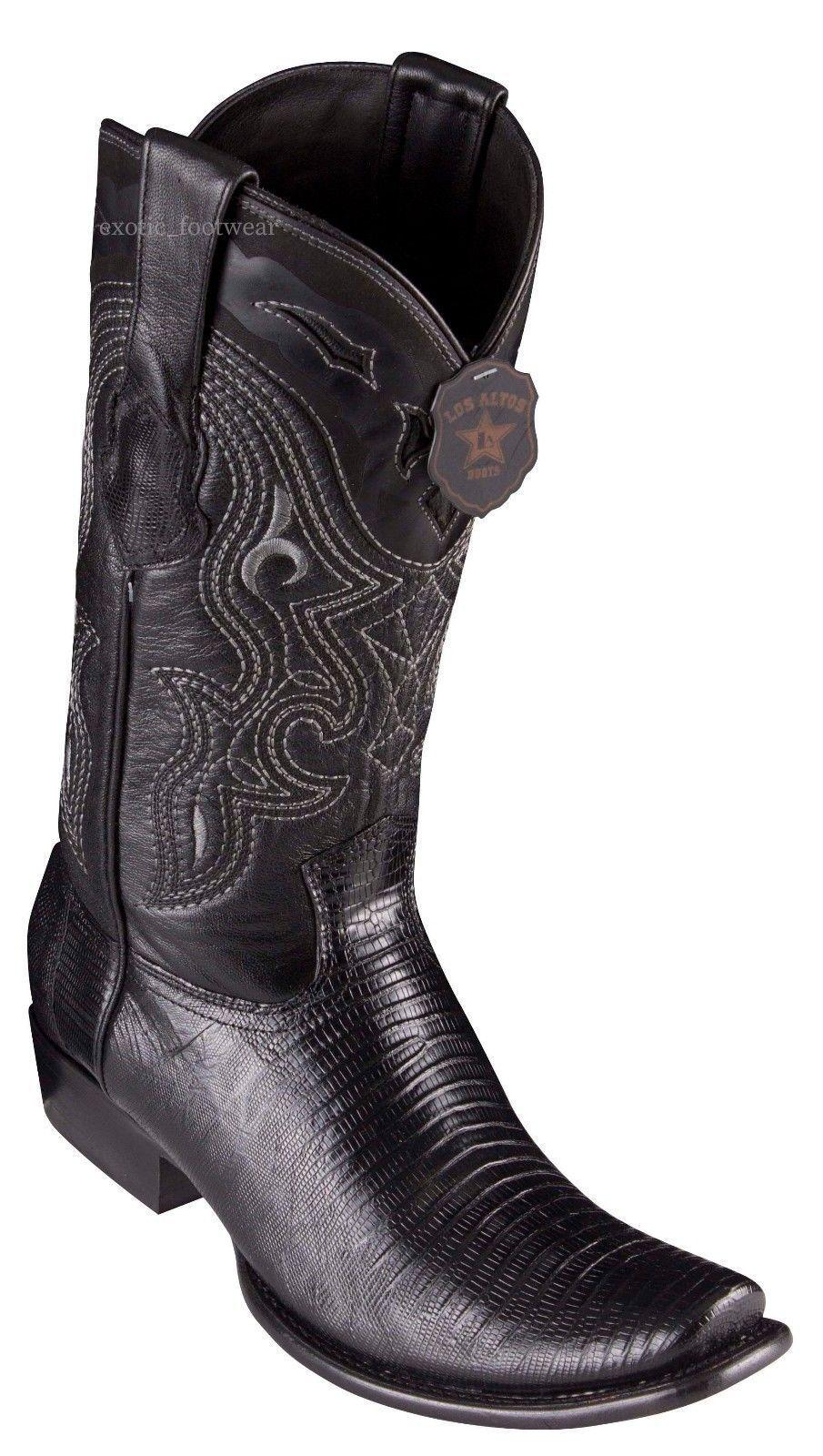 King Exotic BLACK Genuine TEJU LIZARD Western Boot Dubai Square Toe D
