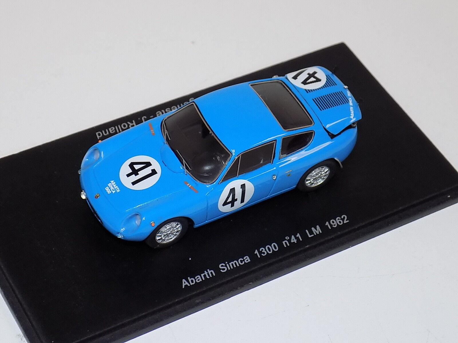 1 43 SPARK ABARTH SIMCA 1300 voiture de  41 24 H du Mans 1962 S1305