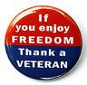 "ENJOY FREEDOM THANK A VETERAN - Pinback Button Badge 1.5"" USA"