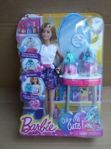 Barbie Playline Color Me Mignon Salon Playset Chien Chiot Pet Doll 2014 Mattel-afficher Le Titre D'origine