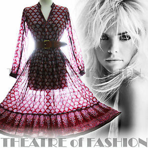 Dress L Wedding Hippy Indian Boho 8 Vintage '70 S 14 10 M Gauze Xxl Xl 18 anni 12 16 4nwnxfOS