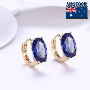 Elegant 18K Yellow Gold Filled Big Blue Crystal Huggie Hoop Earrings