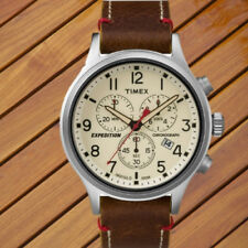 4ddc9b08c Timex Mens Expedition Scout Chrono Watch Brown Leather Slip-Thru Strap 0.16  lb