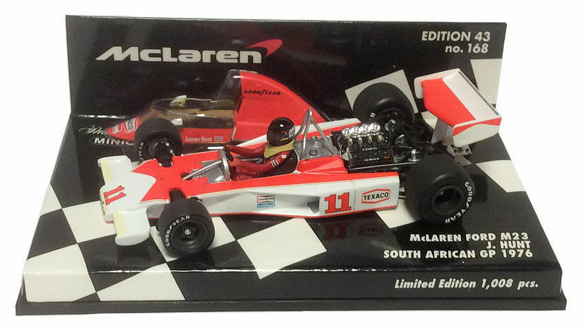 F1 1 43 MCLAREN M23 FORD HUNT SOUTH AFRICAN GP WORLD CHAMPION 1976 MINICHAMPS